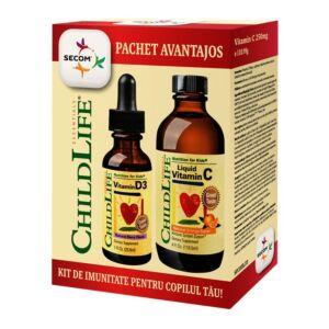 Kit de imunitate pentru copilul tau: Vitamin C 250mg + Vitamin D3 500UI