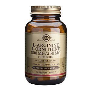 L-Arginine L-Ornithine 500/250mg 50 veg caps