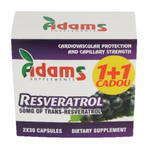 Pachet Resveratrol 50mg 30capsule 1+1 GRATIS Adams Vision
