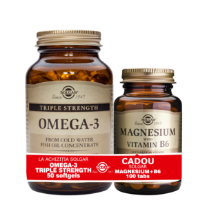 PACHET OMEGA-3 TRIPLE STRENGTH 50 CAPS + MAGNESIUM CU B6 100 TABLETE