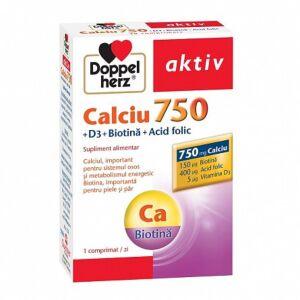 Calciu 750 + Vitamina D3  Biotină  Acid folic 30 cpr Doppelherz