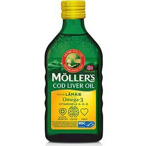 Moller's Cod liver oil Omega-3 aroma de lamaie, 250 ml