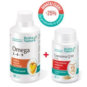 Pachet Omega369 90 cps si Coenzima Q10 15 mg 30 cps Rotta Natura