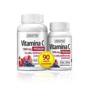 Vitamina C Premium cu rodie, 1000 mg, 90 cps.