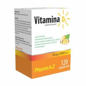 Vitamina D3, 120 capsule, PharmA-Z